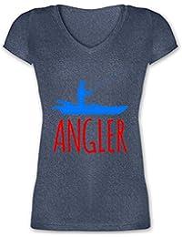 74feabbbad2 Angeln - Angler Boot - Angelboot - Damen T-Shirt mit V-Ausschnitt