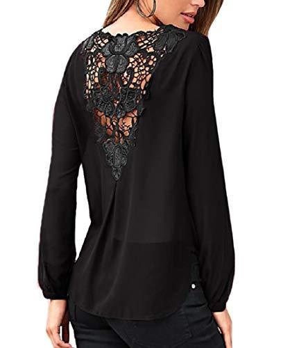 CuteRose Women's Puff Sleeve Pure Color Cross Cut Hollow Out Top Shirt Black L -