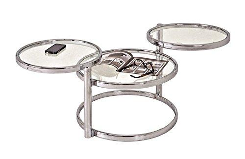 Couchtisch bzw. Wohnzimmertisch mit drei Ablagen, schwenkbar in chrom; Maße (B/T/H) in cm: 58-140 x 50 x 43