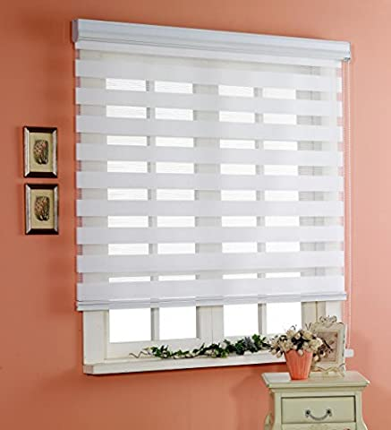 Custom Cut to Size , [Winsharp Basic , white , W 120 x H 120 (Cm)] Horizontal Window Shade Blind Zebra Dual Roller Blinds & Treatments , Maximum 240 Cm Wide by 240 Cm Long