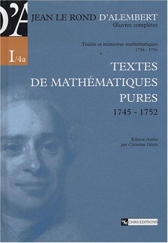 Oeuvres complètes de Jean le Rond d'Alembert-Traités et mémoires mathématiques