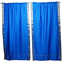 Mogul Interior Blue Sari Curtains Rod Pockets Window Treatment Pair Gold Drapes 96x44