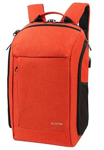 SLOTRA Business Reise Rucksack 25L Flugzugelassen Backpack USB-Ladeanschluss Handgepäckstück Diebstahlschutz Mutilfunktion Kamere Ordnung Laptopfach 15,6 Zoll Orange
