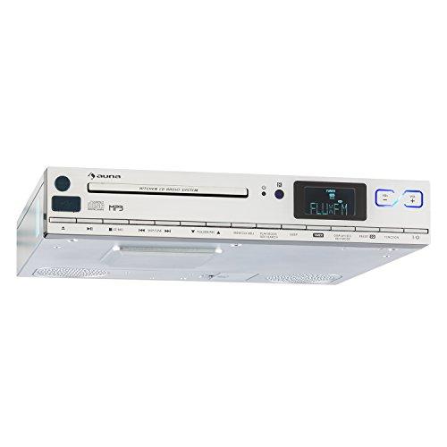 auna KCD-20 - Küchen-Radio, Unterbauradio, 2 x 6,5 cm Breitbandlautsprecher, MP3-CD-Player, UKW Tuner, RDS, 20 Senderspeicherplätze, USB Port, AUX, LCD-Display, Fernbedienung, Silber