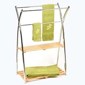 Porta asciugamani da terra 3 barre 2 ripiani in bamb for Porta asciugamani da terra