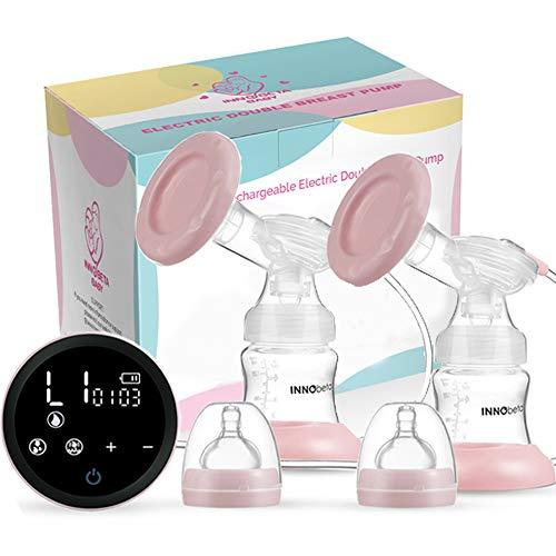Elektrische Doppel Milchpumpe InnoBeta Baby – Doppel Einzel Brustpumpe für Mütter Massage Brüste Pumpen Set mit großem LCD-Bildschirm Einstellbare Saug- und Pumpstufen für Mama's Komfort