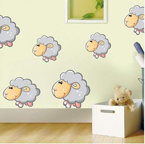 Cartoon Kinder Schafe Vollfarbe Wandaufkleber Für Kinderzimmer Wand-Dekor Abnehmbare Wandkunst Aufkleber Tapete Poster Dekoration