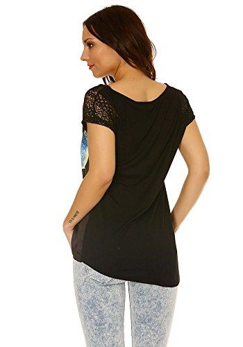 dmarkevous - Tee shirt fluide, matière satinée sur le devant, avec imprimé fleur en couleur Noir