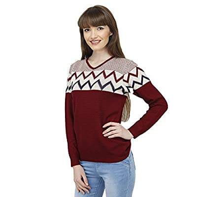 CAMEY Women's Acrylic Winter Zig-Zag Woolen Top (Red, Free Size)