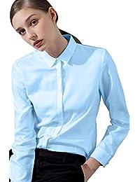 7023064bf376f8 FLY HAWK Bluse Hemdbluse Damen Hemd Basic Kent-Kragen Elegant OL Work Slim  Fit Langarm
