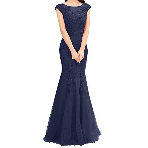 Charmant Damen Dunkel Rosa Spitze Kurzarm Abendkleider Langes Festliche Kleider Jugendweihe Kleider Ballkleid Neu Navy Blau