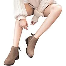 Botas de Punta Mujer Redonda, Zapatos Planos Botines Cremallera Gamuza Zapatos de Color