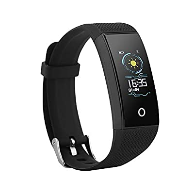 ASHATA Bluetooth Sports Fitness Tracker, Activity Tracker Bracelet Watch with Heart Rate Blood Pressure Sleep Monitoring Waterproof IP67 for Men, Women and Kids - Black from ASHATA