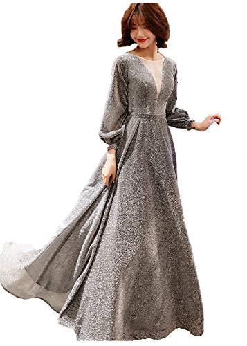 LYQPD Damen-Tiefes-V-Hals-Off-Hals Wieder Lange Flutter Sleeves Elegant Long Evening Dresses Bridesmaid Hochzeitskleid,Silvergrey,L Damen Flutter Sleeve Dress