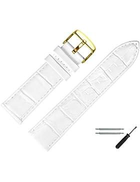 Uhrenarmband 24mm Leder weiss Prägung, Kroko - inkl. Federstege & Werkzeug - Uhrband mit Alligatorprägung - Lederarmband...
