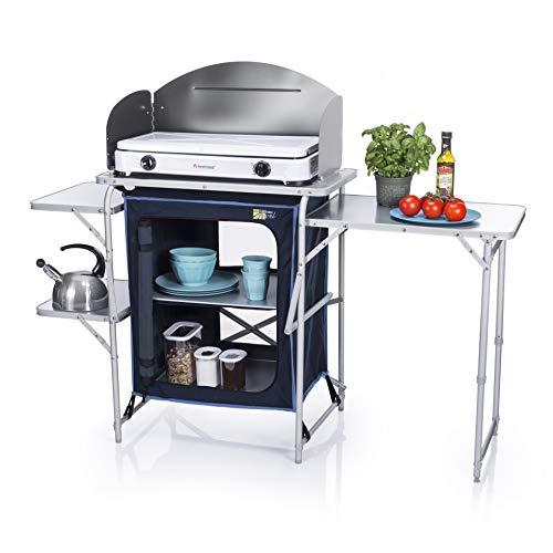 Campart KI-0730 Cocina travel de camping con paraviento, Azul, 143 x 48 x 79,5/110,5 cm