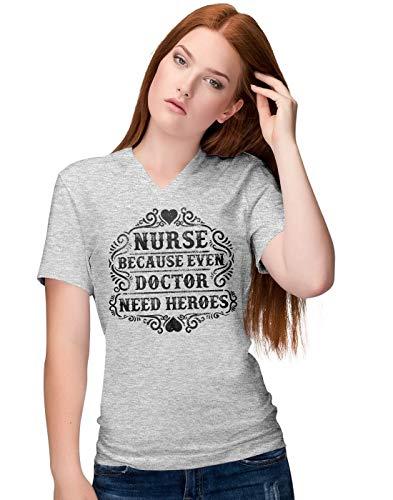 BLAK TEE Damen Nurse Because Even Doctor Need Heroes Slogan V-Neck T-Shirt M -