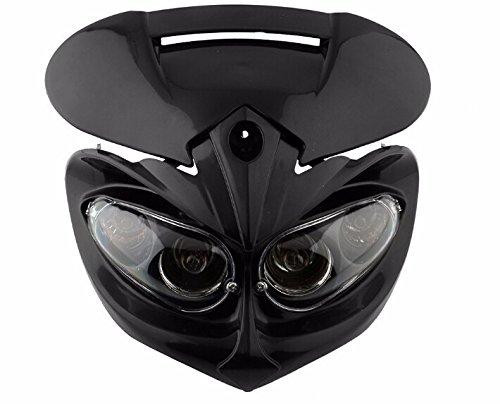 Universal Scheinwerfer Verkleidung Motorrad Dual Sport Lampe Street Fighter schwarz