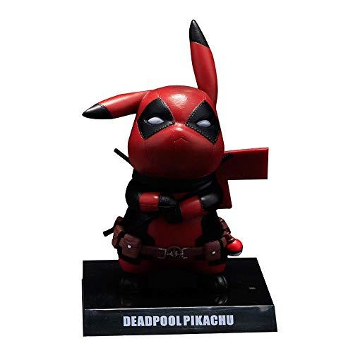 Pokemon Deadpool Pikachu Q Version Action Charakter Model Decoration Collection PVC Material Höhe 14 cm Deadpool + Light + Display Box -