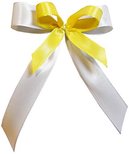 25 Antennenschleifen Autoschleifen Autoschmuck Hochzeit SCH0070 weiss gelb (Gelbe Und Hochzeit Weiße)
