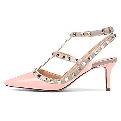 Damen Pointed Toe Stilettos Sandalen Studs Strappy Slingback Kitten Heels Leder Pumps Pink Fish Size 6UK 39EU -