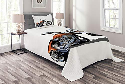 Abakuhaus Motorrad Tagesdecke Set, Motorrad-Abenteuer, Set mit Kissenbezug farbfester Digitaldruck, für Einselbetten 170 x 220 cm, Orange Schwarz