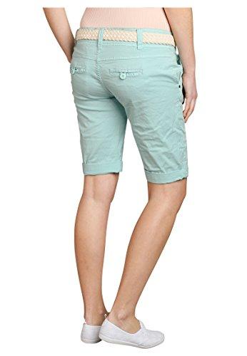 Fresh Made Einfarbige Damen Bermuda-Shorts mit Flecht-Gürtel   Elegante kurze Hose im Chino-Style light turqoise