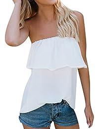 Lunaanco 2018 Vestidos de Mujer, Camisetas de Mujer,Blusa de Gasa sin Tirantes con