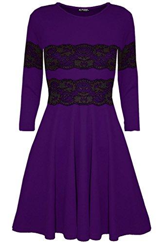 Damen Langärmlig Spitze Netz Ausgestellt Franki Shorts Schlittschuhläufer Mini Kleid Top Violett - Shorts Minikleid