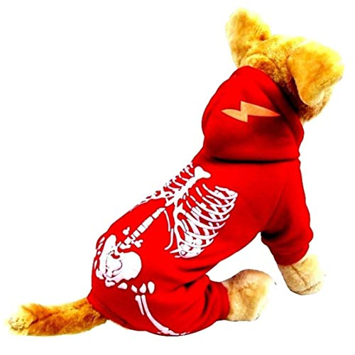 mama stadt Halloween Hundepullover Luminous Clothing Haustier-Skelett-Kostüm, Hundekostüm-Kapuzenpullover - Skelett Kostüm Kontakte