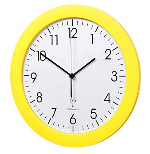 TFA-Dostmann Funk-Wanduhr TFA 60.3512.07 gelb mit Lautlos Sweep-Uhrwerk 300 mm Funkuhren (Sweep Ein)