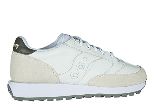 Sneaker Saucony Jazz in pelle bianca e suede beige Blanc