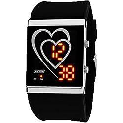 Highdas Stylish Heart-shaped LED Fashion Creative Soft Strap Student's Waterproof Wrist Watch Black