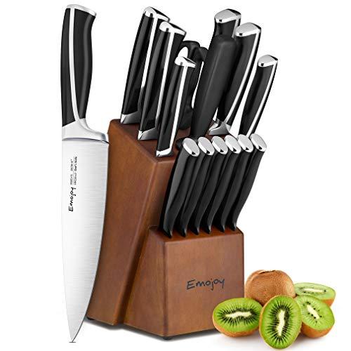 Emojoy set coltelli,ceppo coltelli,set coltelli cucina 15 pezzi, set di coltelli da cucina professionale con acciaio tedesco,ceppo coltelli in legno (nero)