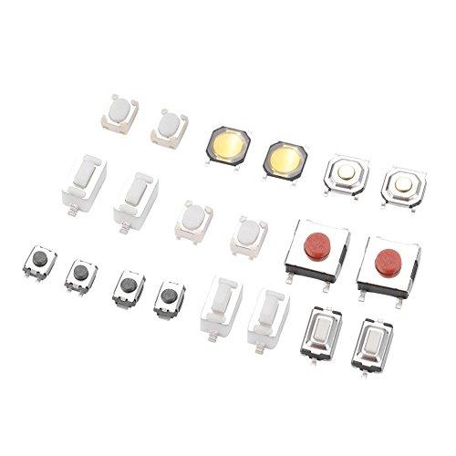 Akozon Taktile Druckschalter 250 Stücke Touch Schalter Taktile Push Button Micro Switch Sortiment für Auto Fernbedienung Schlüssel mit Box Push-button Switch-box