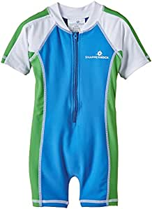 Snapper Rock Baby Boy & Girl UPF 50+ UV Protective Warm Short Sleeve Swimsuit For Kids Blue/Green/White 0-6 months, 62-68cm