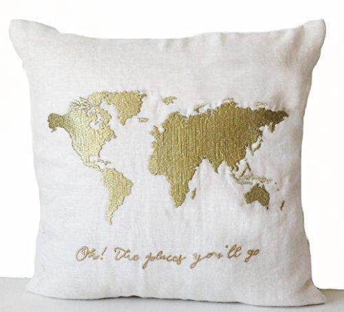 Elfenbein Leinen Kissen mit Weltkarte und