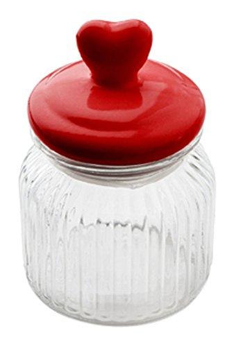 Sabichi Bocal Dessus Cœur, en Verre, Rouge, 600 ML