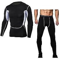 Compresión Leggings Apretadas Larga Hombres Deportes Pantalones + Thermal Running Top