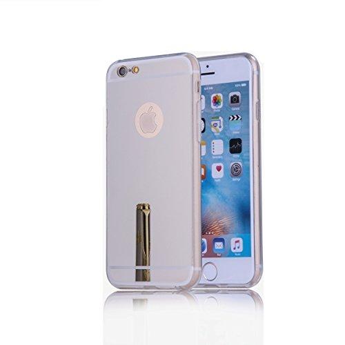 Oceanhome iPhone 6 Spiegel Hülle für Apple iPhone 6 TPU Silikon Mirror Case Hand Cover - Schutzhülle in Rose gold spiegel Silber