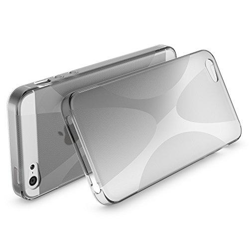 iPhone 5 5S SE Hülle Handyhülle von NICA, Ultra-Slim Silikon Case Cover, Dünne Crystal Schutzhülle, Etui Handy-Tasche Back-Cover Bumper, TPU Gummihülle für Apple i-Phone SE 5S 5 - S-Line Schwarz X-Line Grau