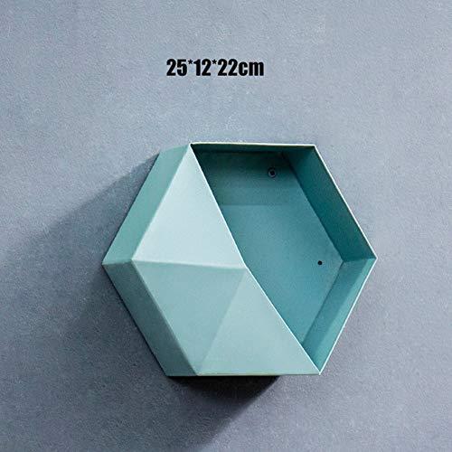 Nuovo scaffale esagonale in metallo moderno colore geometrico personalizzato soggiorno decorazione pareti portaoggetti portaoggetti artigianato in ferro,blu,4pcs