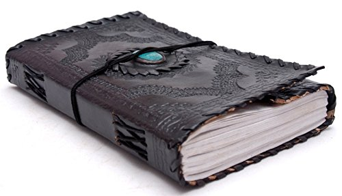 Cool Stuff Handgefertigte Lederblatt Türkis-Stein-Tagebuch Skizzenbuch Reisebuch Geschenk Künstlerbuch 22.5cmx12.5cm