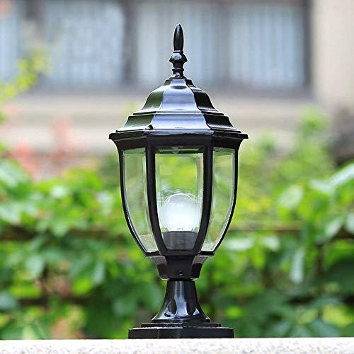 2-licht Im Freien Post (Im Freien wasserdichte Metall Aluminium Wall Post Licht europäischen Stil Edison Lawn Lights Outdoor Desktop Patio Pavillon Spalte Lampe (Farbe: schwarz))