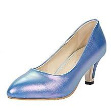 VogueZone009 Donna Tacco Medio Luccichio Puro Tirare Scarpe A Punta Ballet-Flats