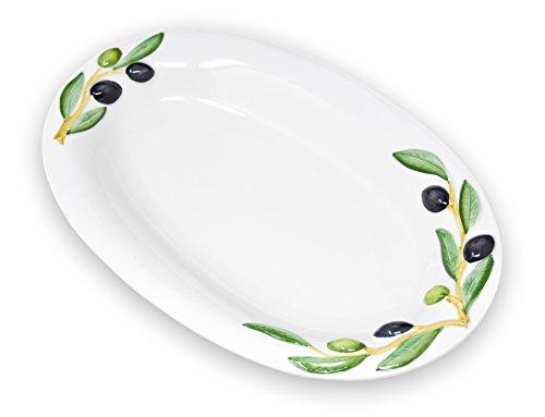 Lashuma handgemachte ovale Servierplatte aus Italienischer Keramik im Olivendesign, Servierteller ca. 32 x 19 cm -