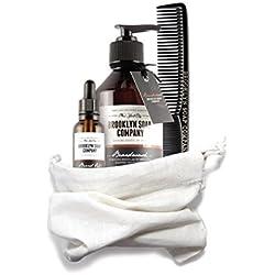 kit cuidado de barba: Beard Bag ✔ consiste en champú, aceite y bálsamo para la barba ✔ cosméticos naturales de la BROOKLYN SOAP COMPANY ®✔ idea de regalo para hombres modernos y como bolsa de aseo