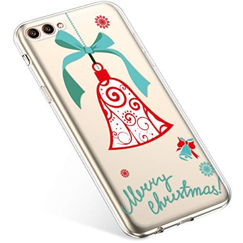 Kompatibel mit Handyhülle Huawei Honor View 10 Hülle Transparent Silikon Ultra Dünn Schutzhülle Durchsichtig Handyhülle Kristall Weiche Silikon TPU Handytasche Rückschale,Weihnachten Jingle Bell