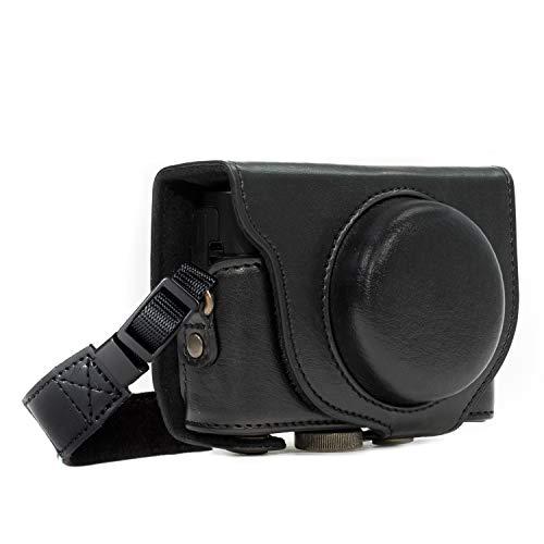MegaGear MG599 Etui de Protection avec Bandoulière en Cuir pour Appareil Photo Sony Cyber-Shot DSC-WX500 Noir