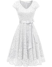 Berylove Damen V-Ausschnitt Kurz Brautjungfer Kleid Cocktail Party Floral Kleid BLP7006WhiteM